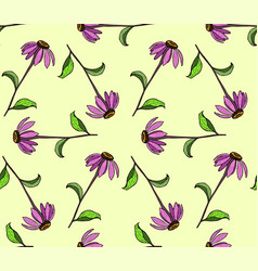 Seamless pattern of color flowers color hand vector