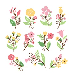 set cute flowers vector image