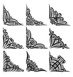 set decorative black corners vector image