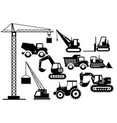 set excavators and heavy vector image