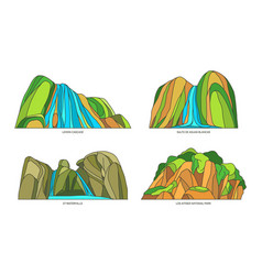 set isolated dominican republic nature sights vector image