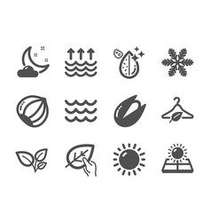 Set nature icons such as organic tested night vector