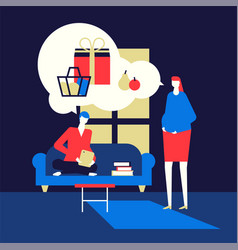 shopping online - flat design style colorful vector image