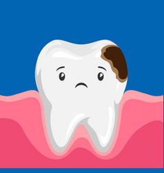 Sick tooth with caries vector