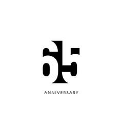 sixty five anniversary minimalistic logo vector image