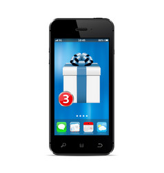 smart phone with new gift box app on the screen vector image