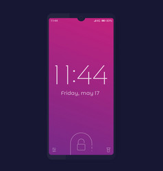 smartphone with lock screen mockup vector image