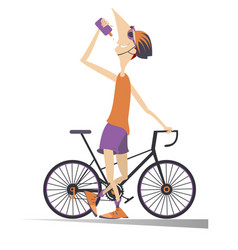 Smiling cyclist with a bike drinks water isolated vector