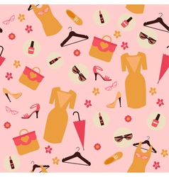 Spring Shopping Seamless Pattern Accessories vector image