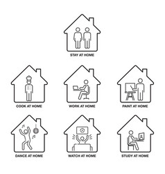 Stay at home icon set pictograph icon single vector
