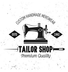 Tailor shop emblem with sewing machine vector