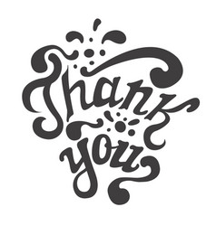 Thank you hand drawn lettering calligraphy vector