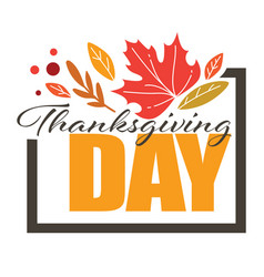 thanksgiving day greeting banner with dry leaves vector image