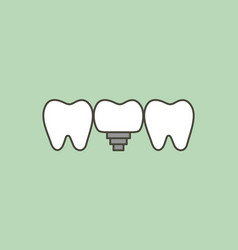 Tooth implant - teeth change new root vector