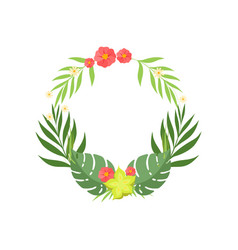 trendy tropical leaves and flowers elegant frame vector image