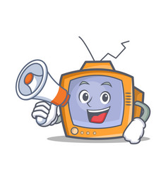 Tv character cartoon object with megaphone vector