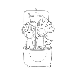 Two fairies succulent cat and pot vector