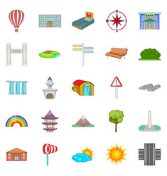 view icons set cartoon style vector image