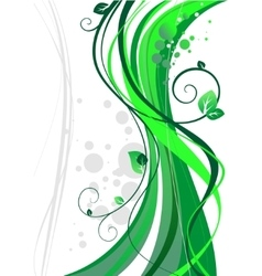 Wave floral abstract vector