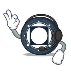 With headphone byteball bytes coin mascot cartoon vector