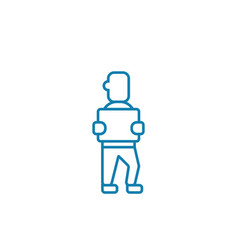 worker in warehouse linear icon concept worker in vector image
