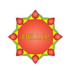 Wreath emblem a symbol of a red octagonal 1 vector