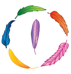 wreath of colorful hand drawn feathers vector image