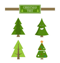 Xmas tree advert sale board set of spruce icons vector