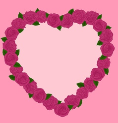 Beautiful frame of pink roses in a heart vector image