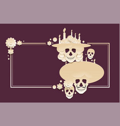 day of the dead template greeting card mexican vector image