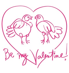 pigeos love doodle vector image vector image