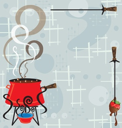 retro chocolate fondue party vector image vector image