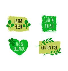 vegan menu set of bio healthy food logos badges vector image