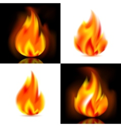 Fire 4 flames vector image