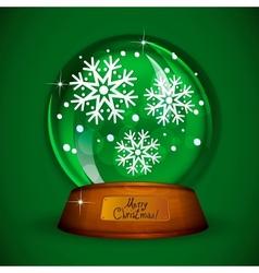Christmas Snow globe with snowflake vector image