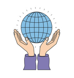 Colorful silhouette hands with floating globe vector