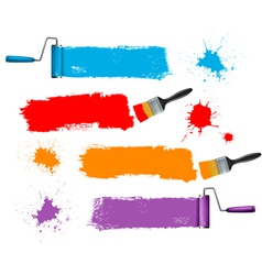 Paint brush and paint roller and paint banners vector