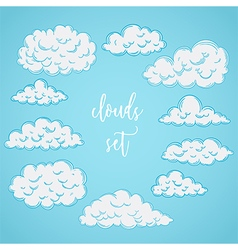 collection of hand drawn clouds vector image vector image