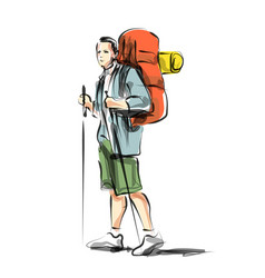 color line sketch of a mountain tourist vector image