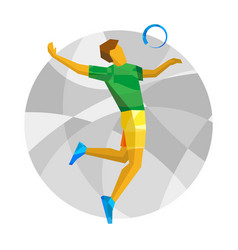 Volleyball player with abstract patterns vector