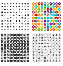100 fish icons set variant vector