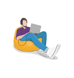 A man sits in a chair a bag with a laptop and vector