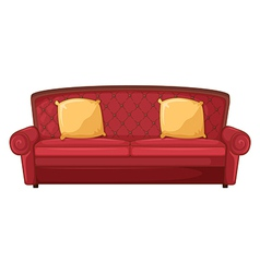 A red sofa and yellow cushions vector