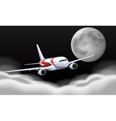Airplane flying in the fullmoon vector