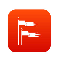 Ancient battle flags icon digital red vector