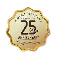 Anniversary retro label 25 years vector