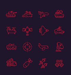 Army military line icons set vector