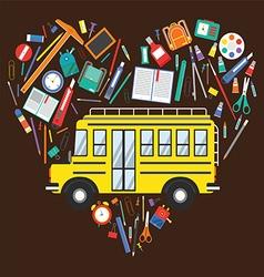Back to School School Bus and School Items vector image