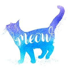 Background with blue watercolor cat vector