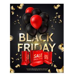 black friday poster balloons shopping bag vector image